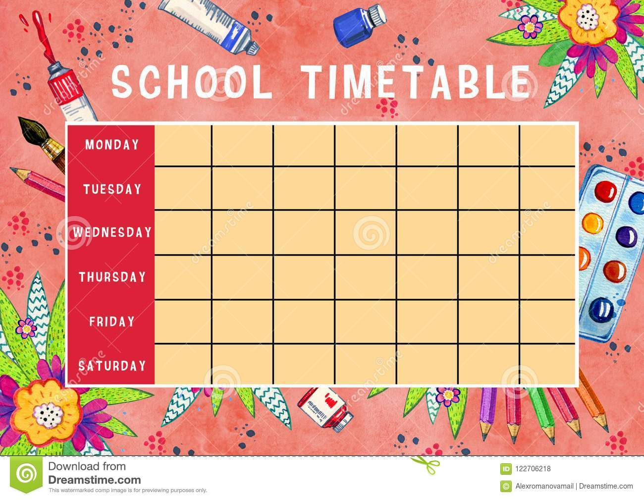 template of school timetable with days of week and free