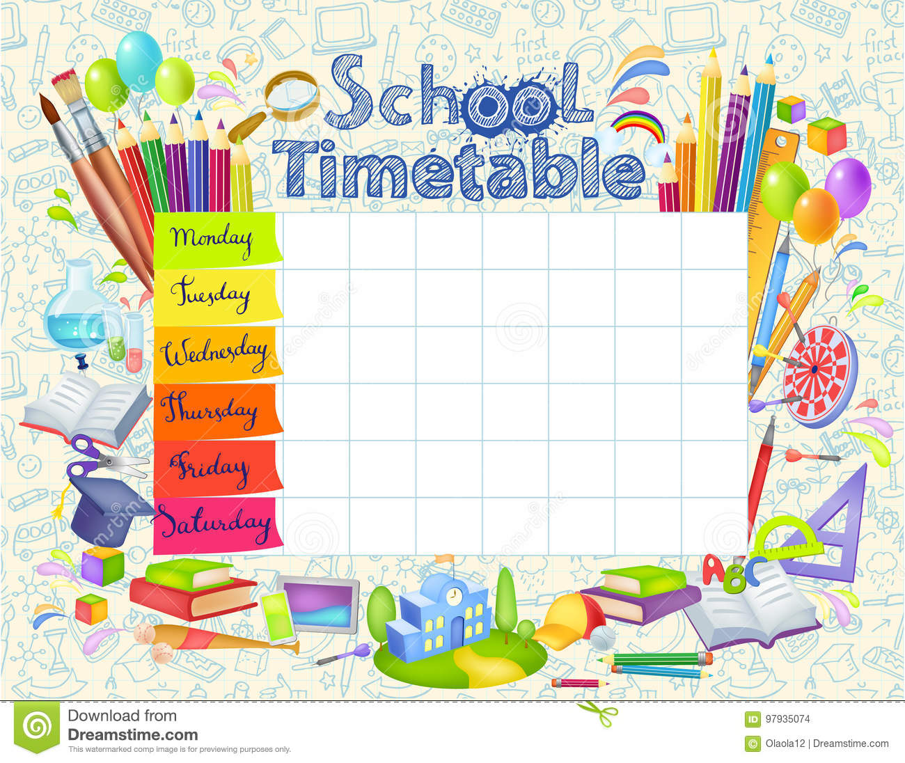 Quotes On School Time Table: Template School Timetable Stock Vector. Illustration Of