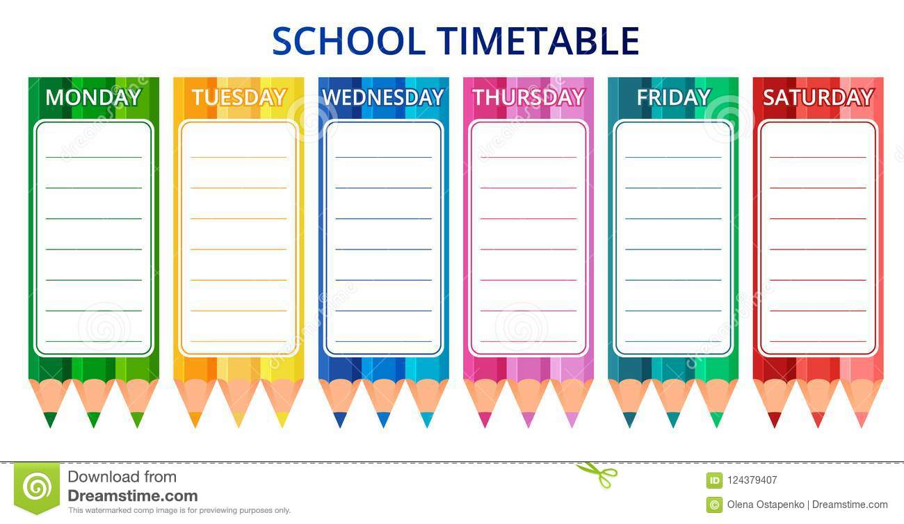template school timetable for students or pupils with days