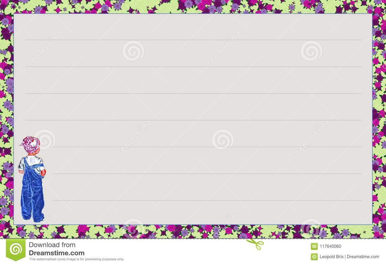 Template Series `Little Girl With Blue Jean`, Variation `Flowery ...