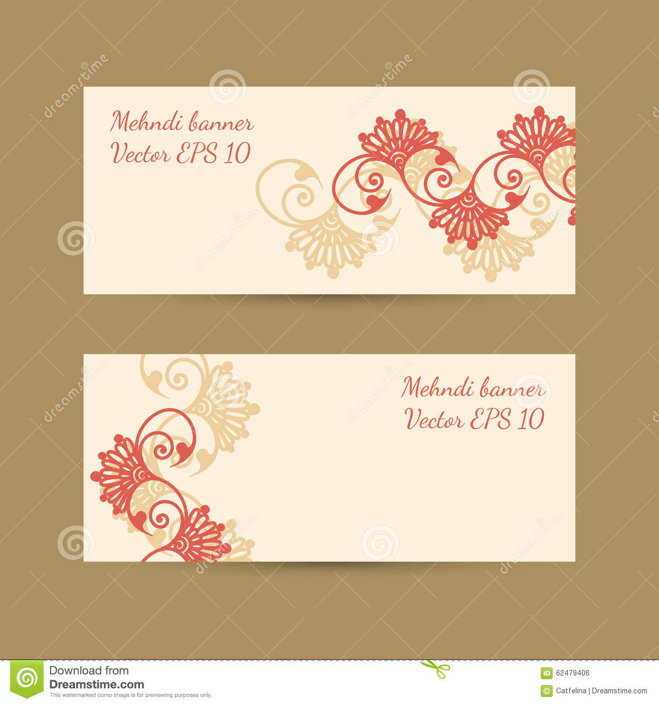 template set with bright decorative mehndi design for