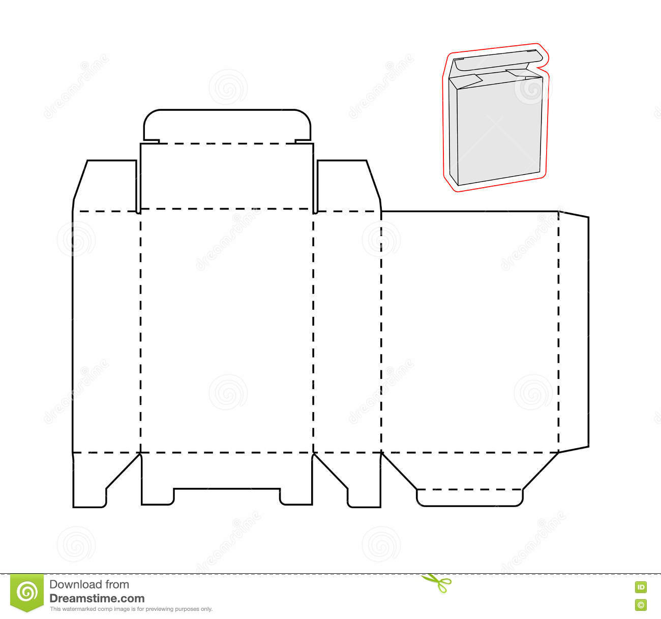 template of a simple box cut out paper or cardboard stock vector