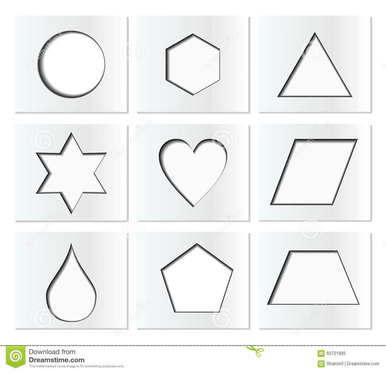 template for simple geometric shapes with inner shadow circle