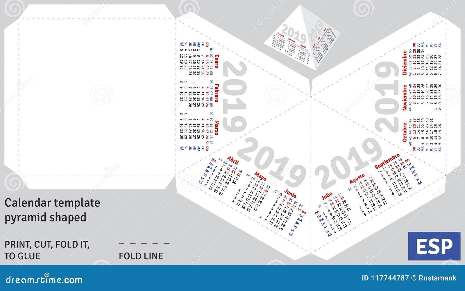 Template Spanish Calendar 2019 Pyramid Shaped Stock Vector