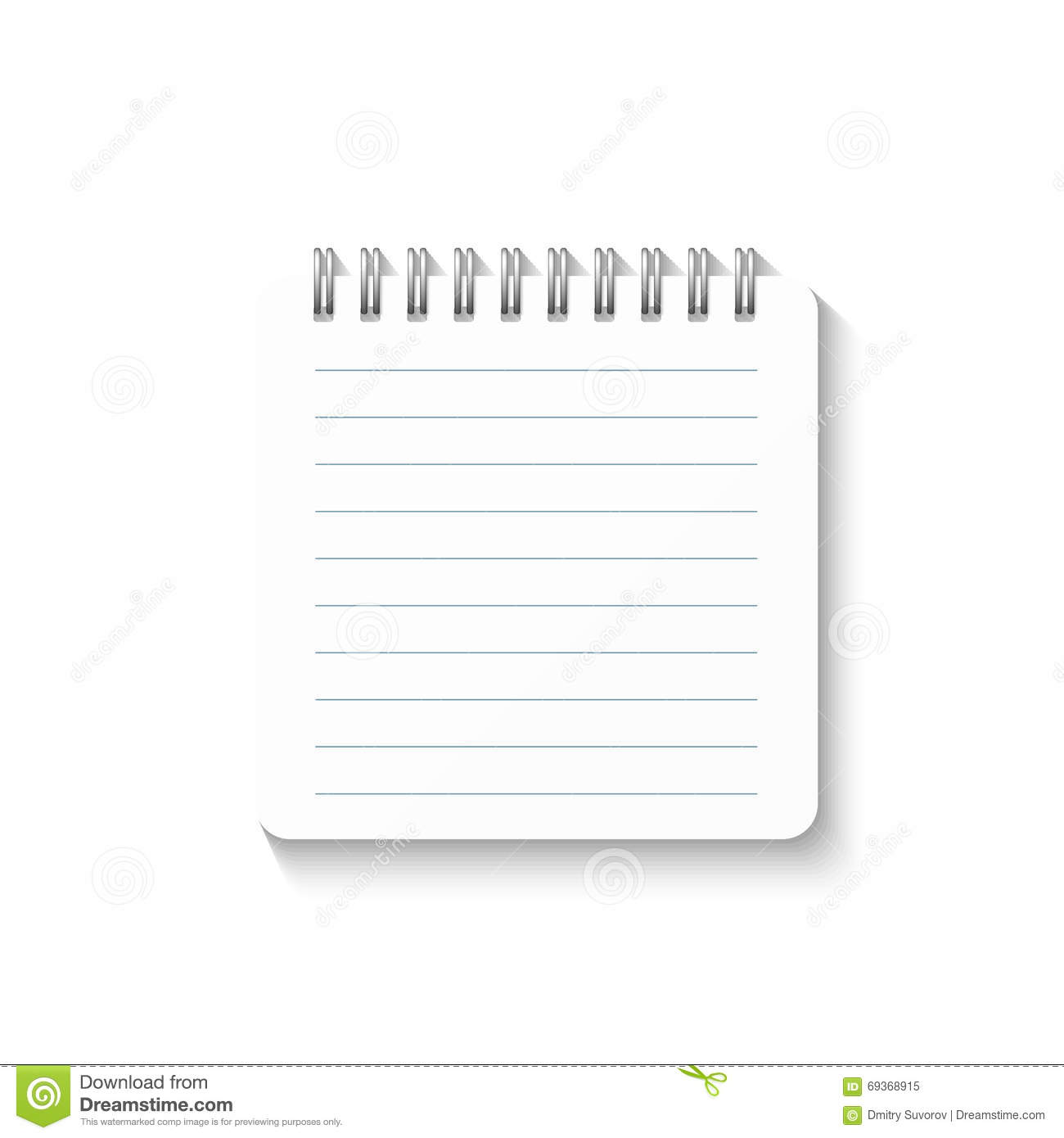 Free School Notebook Cover Vector : Template with spiral notebook isolated on white background