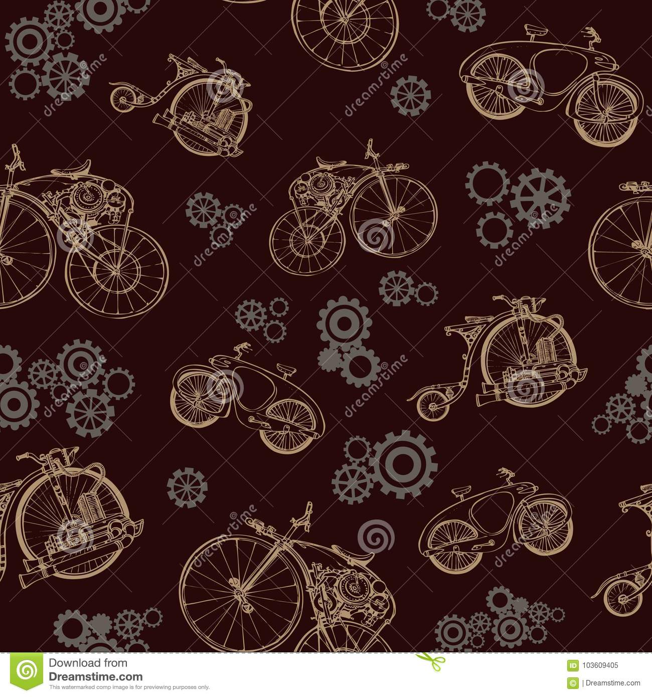 Seamless Pattern With Old Bicycle And Gears Steampunk Style Stock