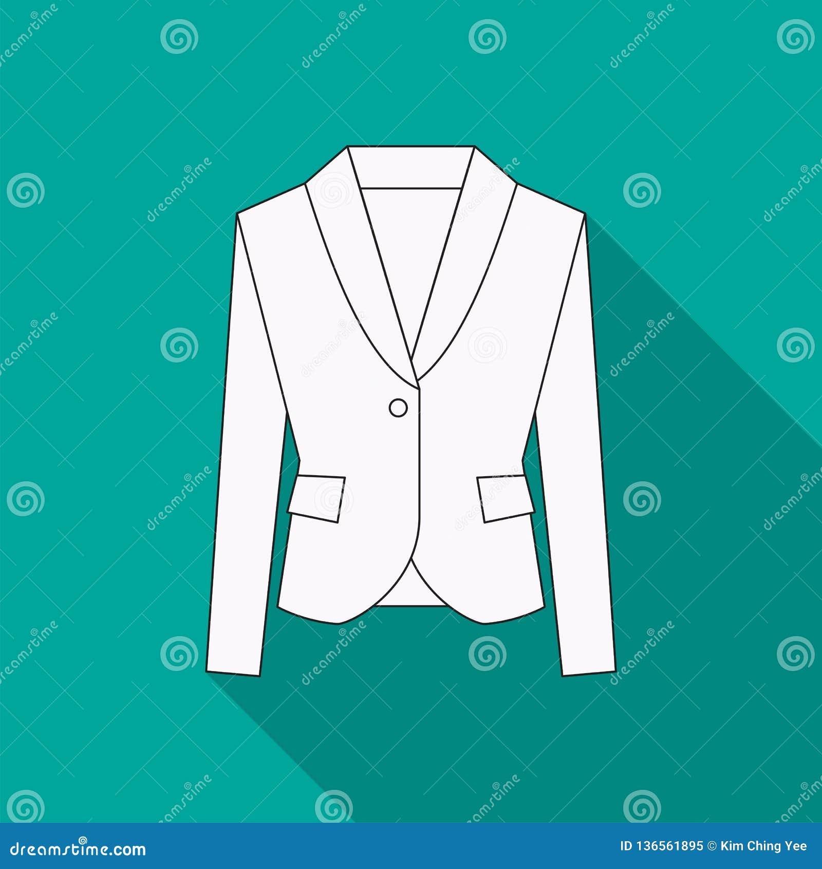 Men blazer or jacket or suit symbol simple flat vector icon in line design