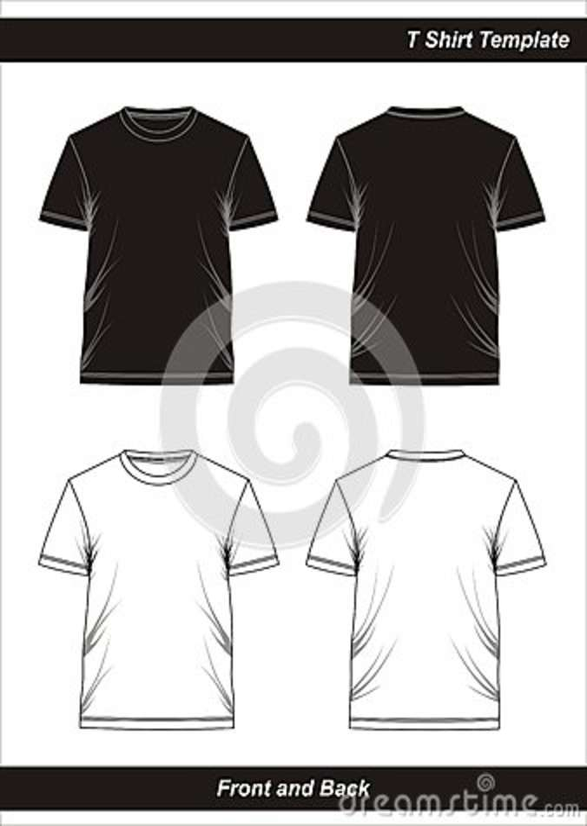 T Shirt Template Black White Blank Vector Image