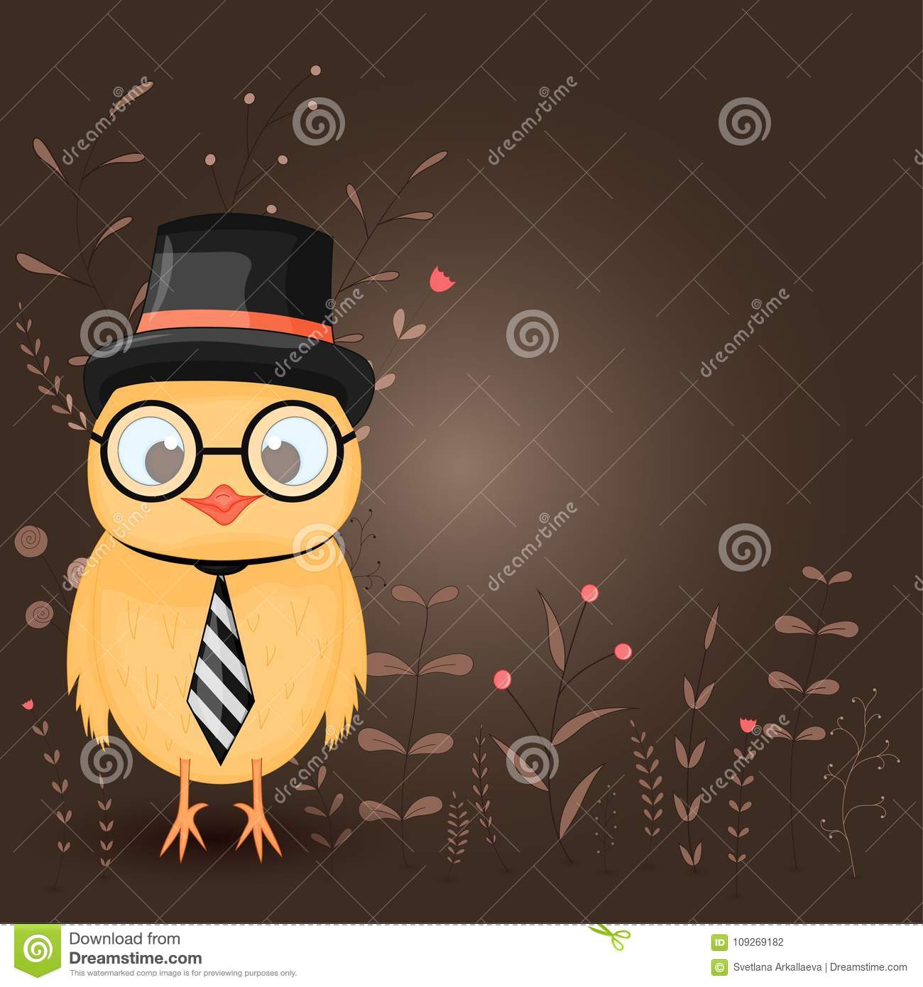template for text with cartoon animals a chicken in a top hat and