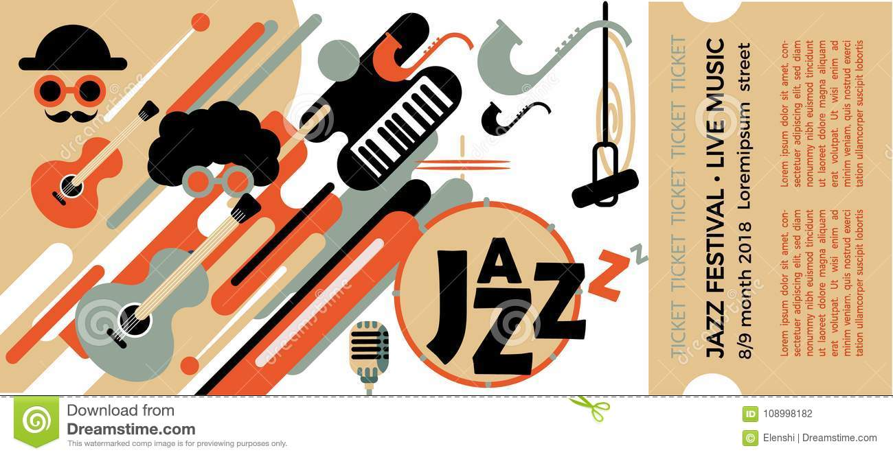 template for the ticket of the jazz festival with musical