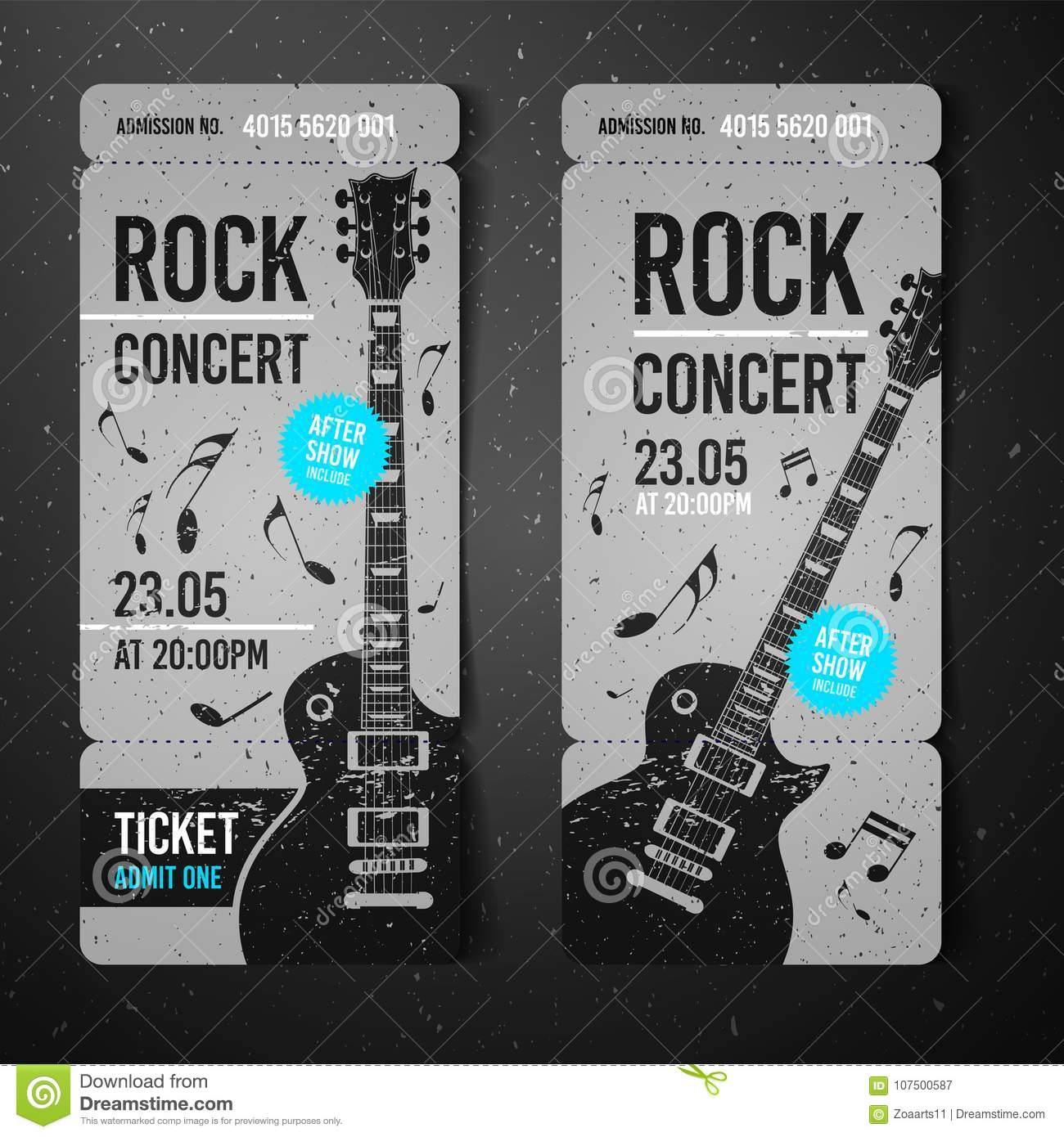 vector illustration black rock concert ticket design template with