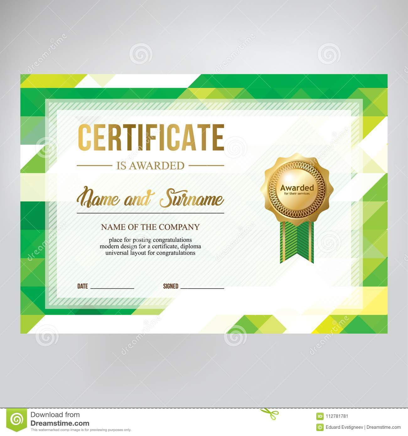 gift certificate design honorary diploma creative geometric green background