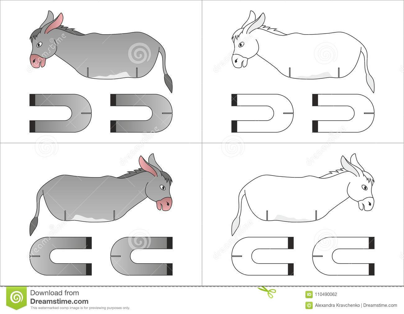 toy donkey made of paper stock vector illustration of lines 110490062