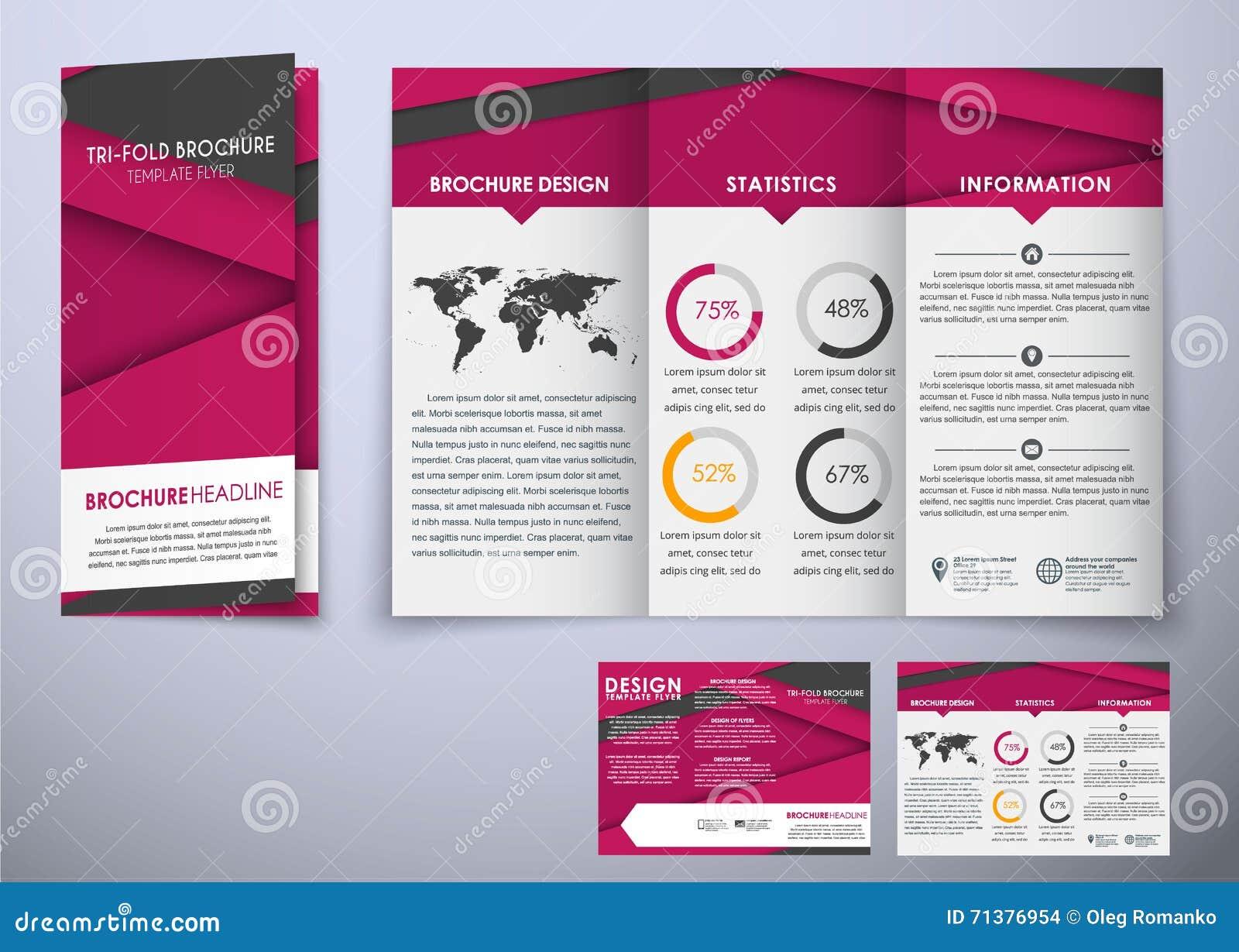 Template Triple Folding Brochure Design Style Material Stock ...