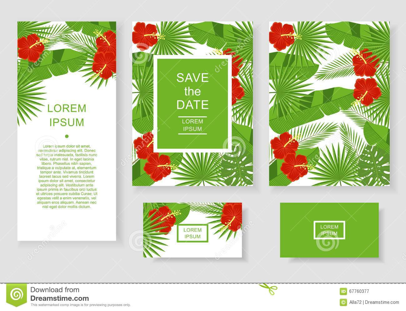 Template With Tropical Flowers And Leaves. Pattern Flyer ...