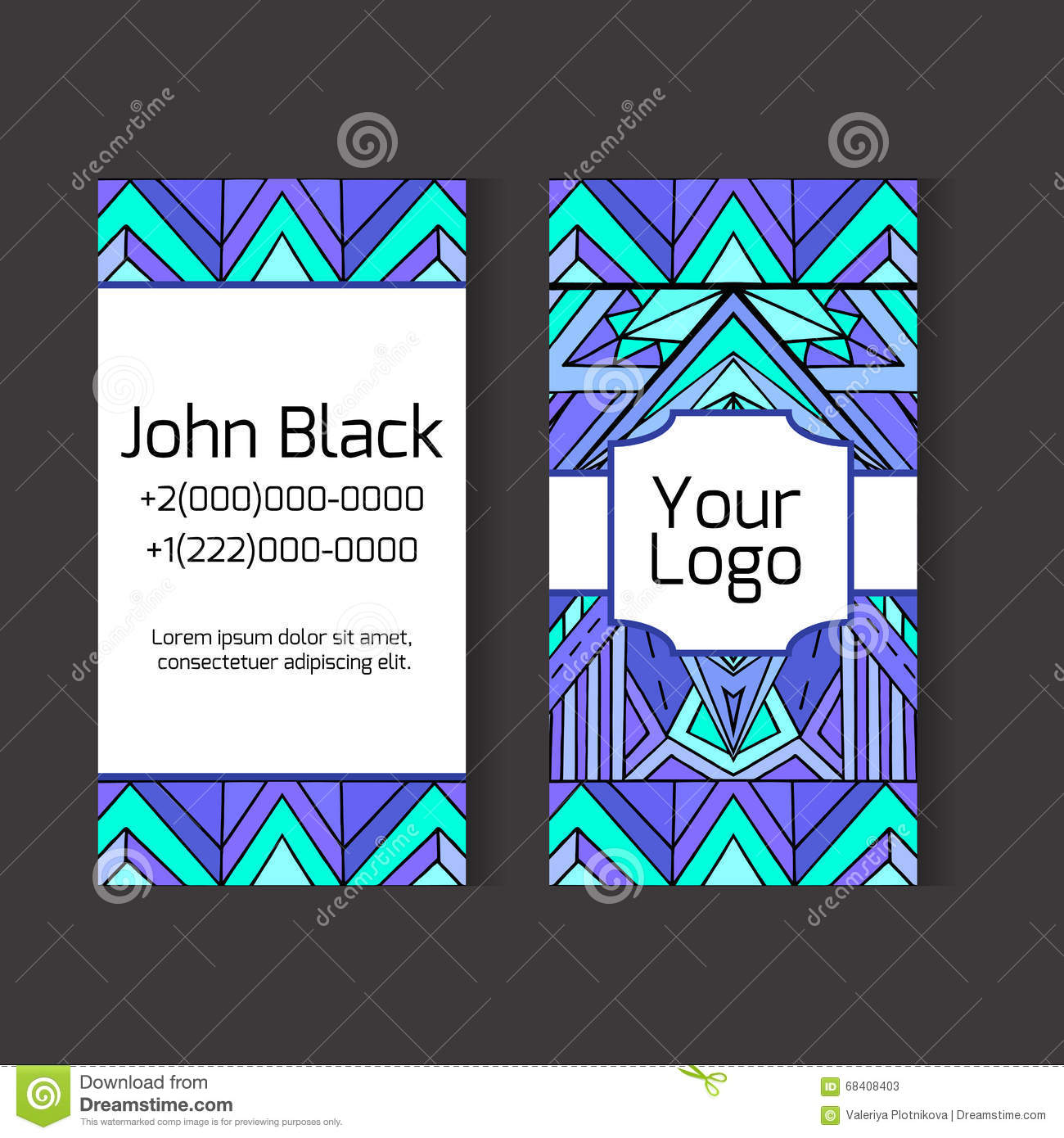 Template two sided business card with ethno pattern stock vector template two sided business card with ethno pattern friedricerecipe Gallery