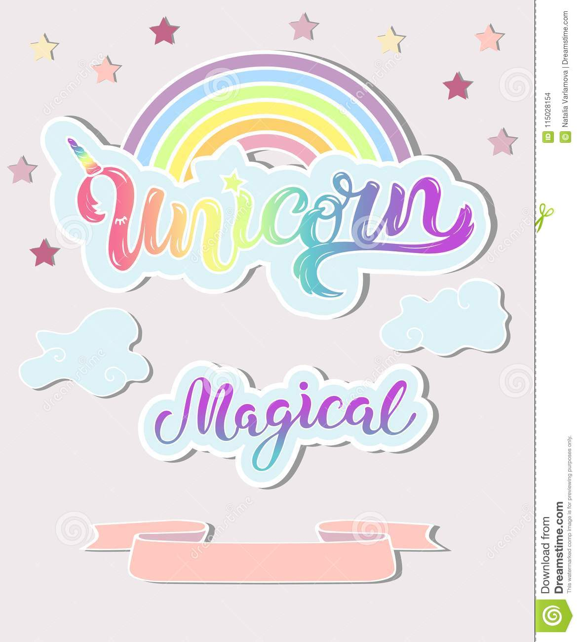 template with unicorn rainbow clouds stock vector illustration