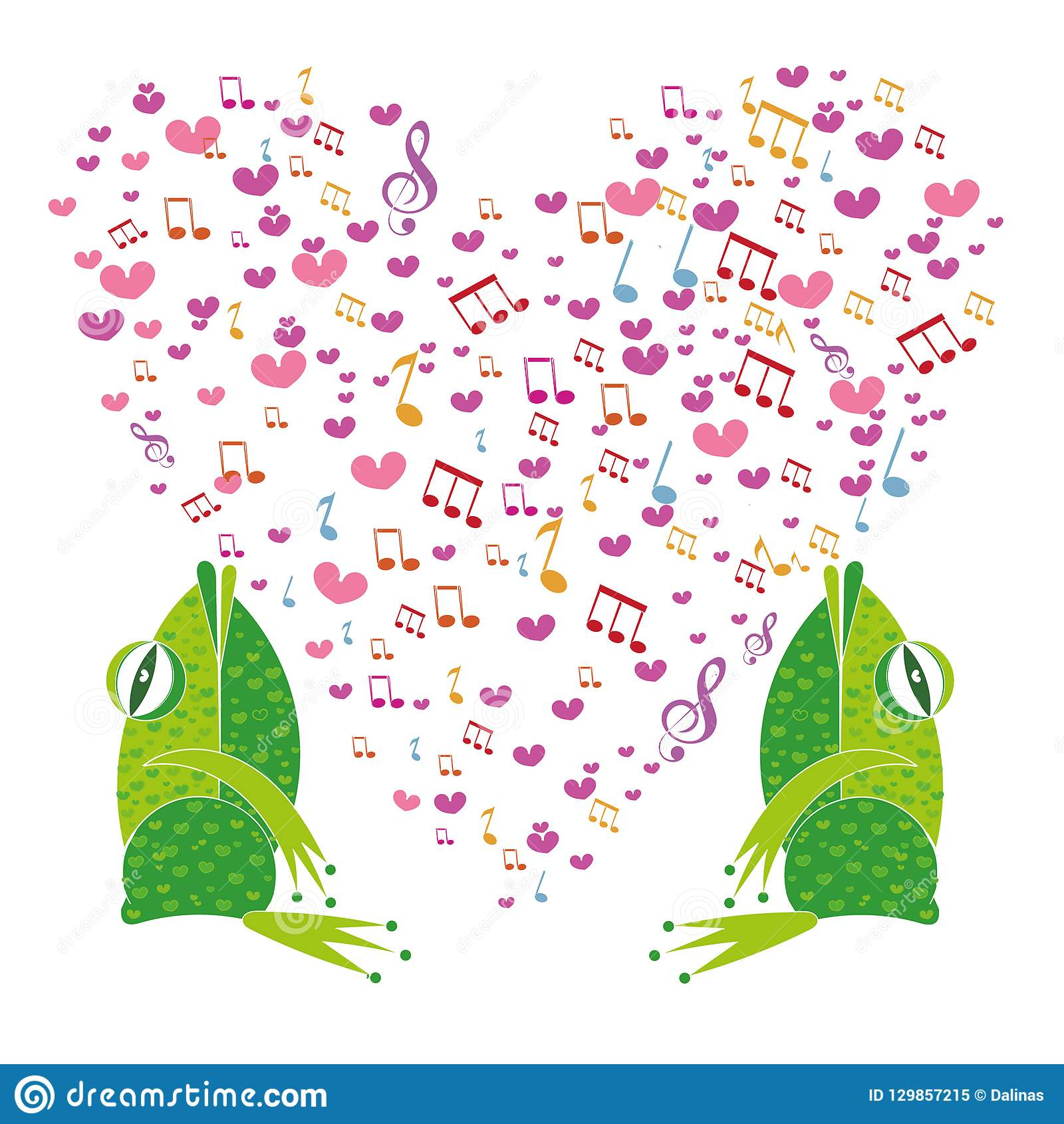 Template Valentine Greeting Cards Musical Notes In The Shape Of A Heart Made Doodle Hearts Valentines Day