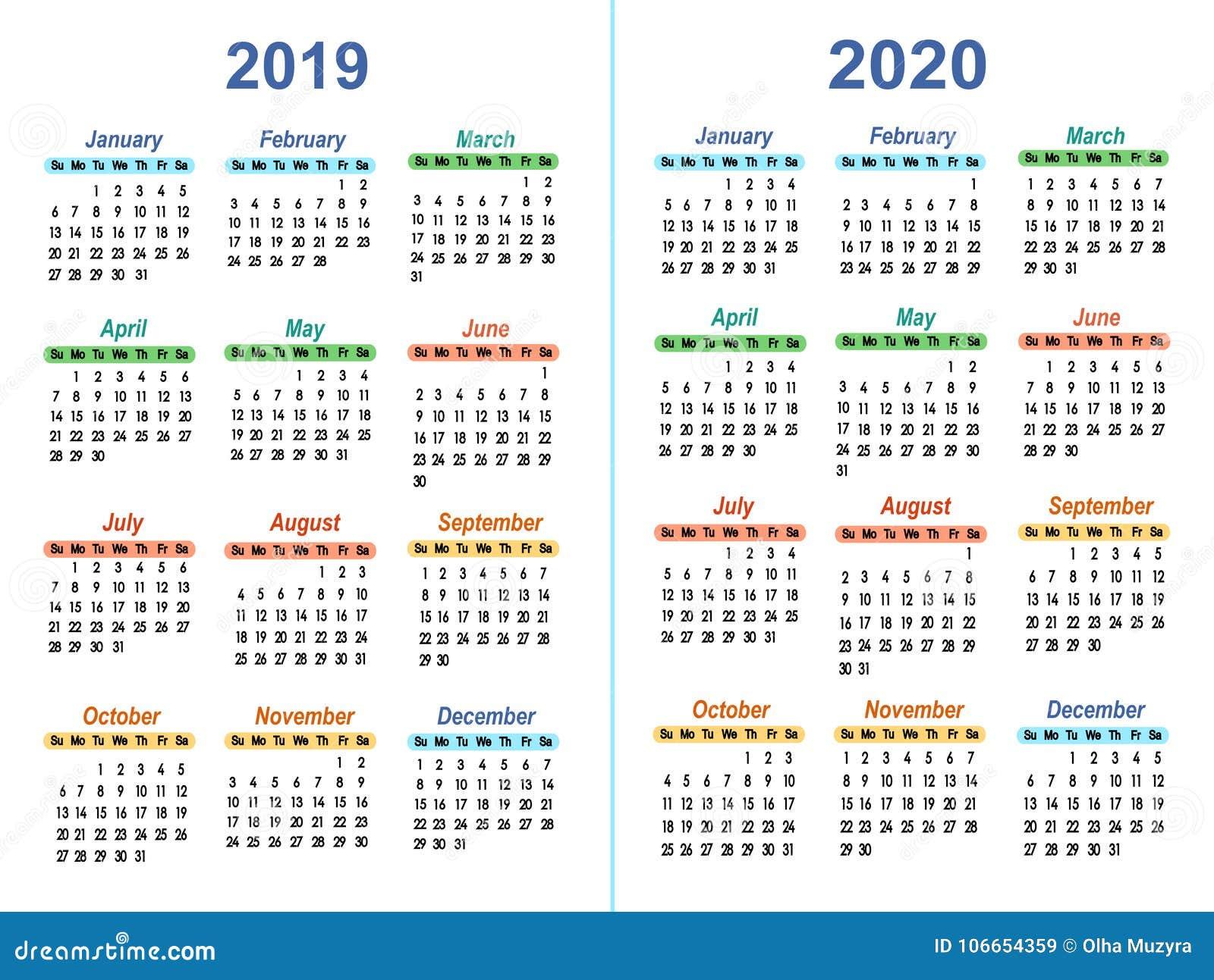 Temple Calendar 2020-2021 Template Vector Calendars 2019   2020 Stock Vector   Illustration