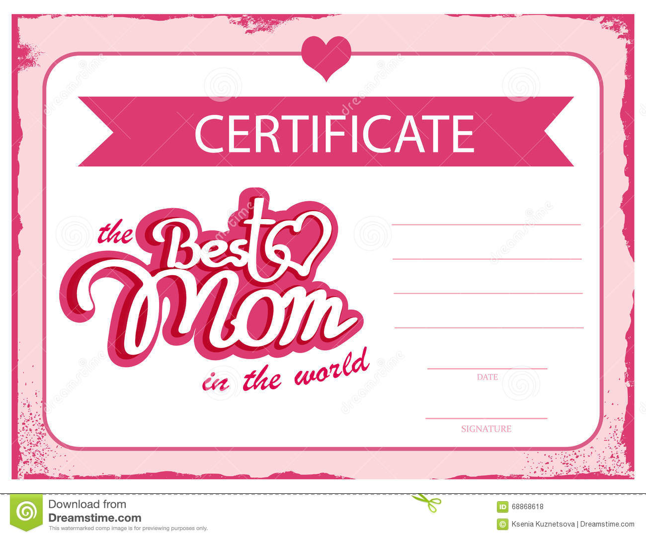 Template Vector Certificate Best Mom In The World. A Gift Certificate For  Mothers Day. A Diploma Template. Royalty Free Vector  Personalized Gift Certificates Template Free