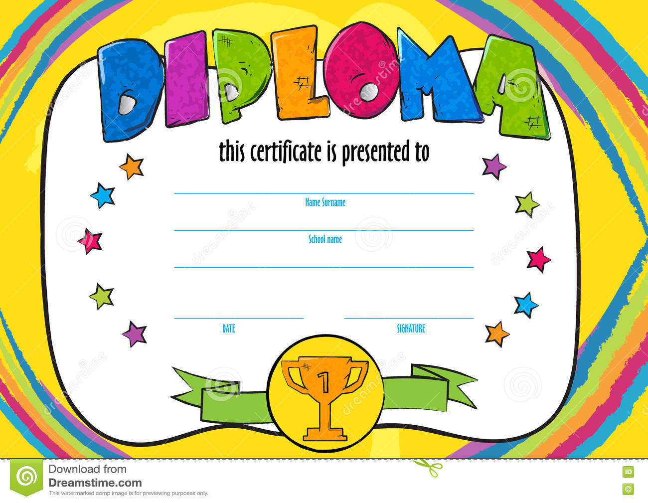 Template vector of child diploma or certificate to be awarded template vector of child diploma or certificate to be awarded yadclub Images