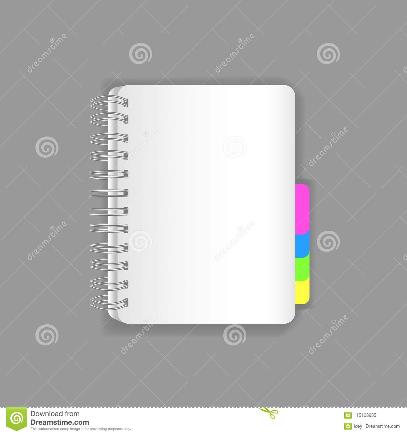 template notebook empty flipchart with a spring and colored tabs