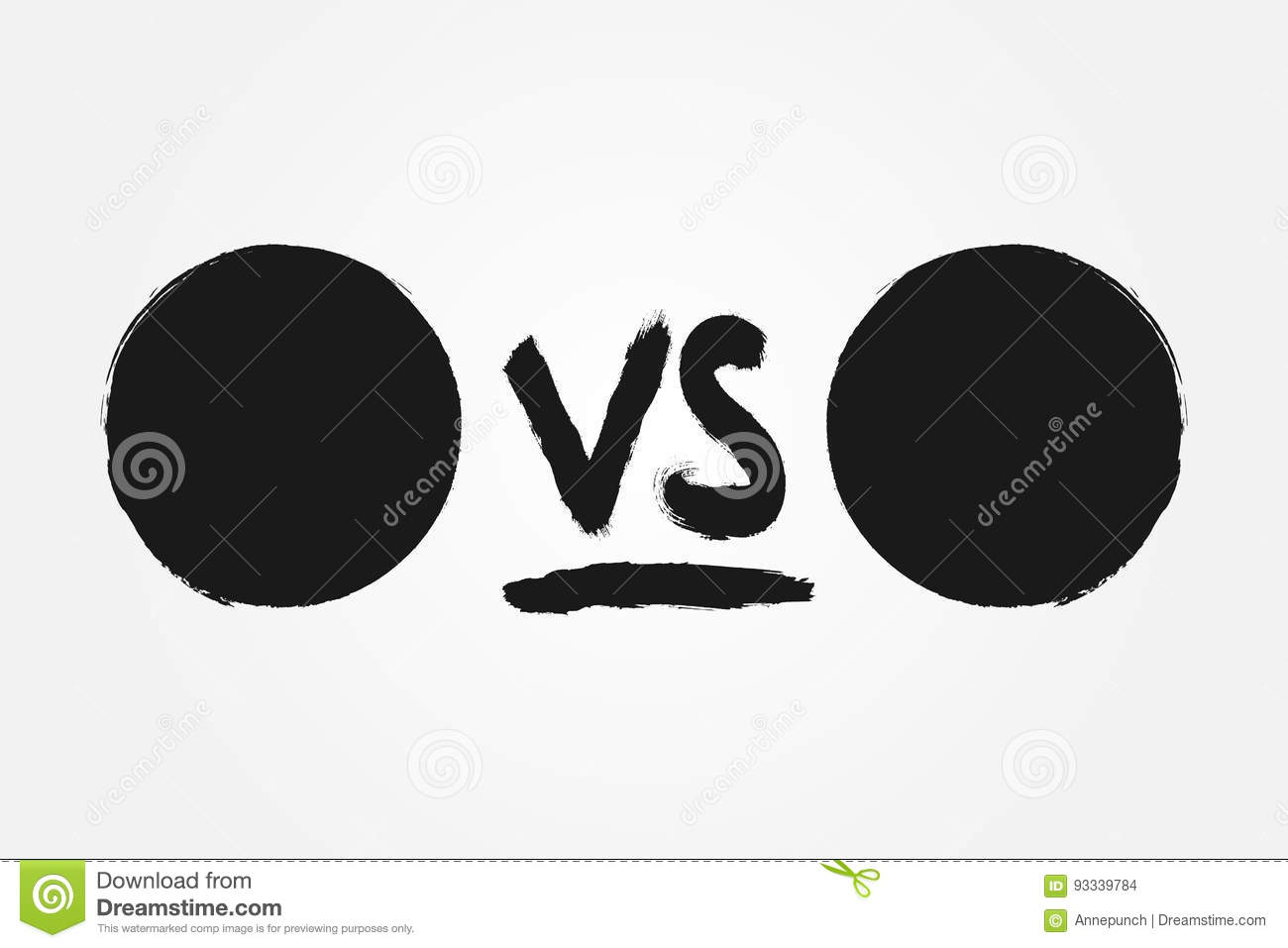 Template for versus. Round backgrounds and handwriting VS. Drawn with a rough brush.