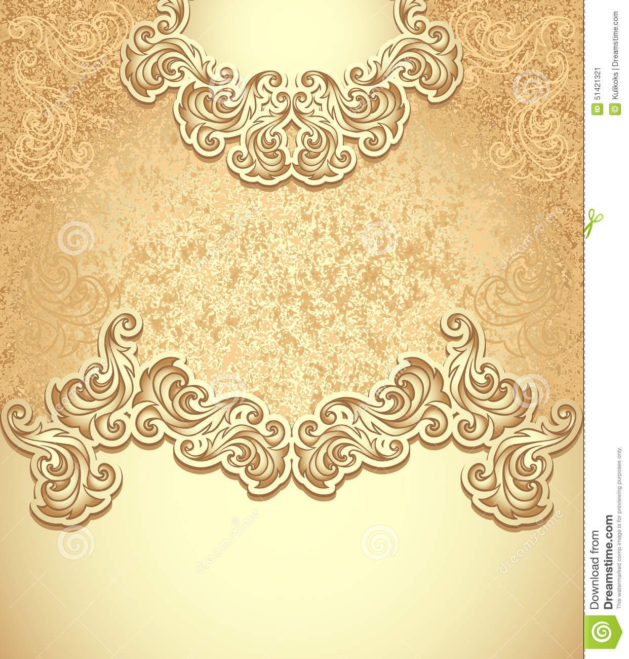 Template Vintage Background Gold Stock Vector