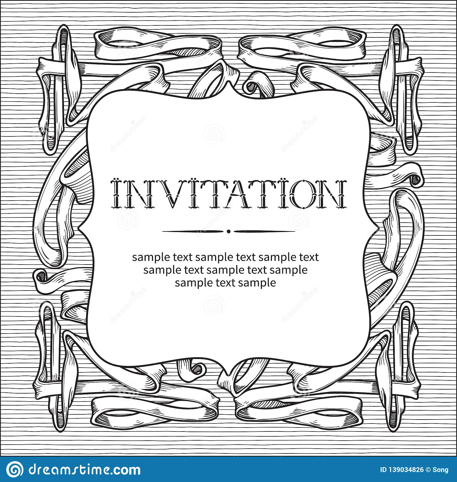 Template For Vintage Invitation Card Stock Vector
