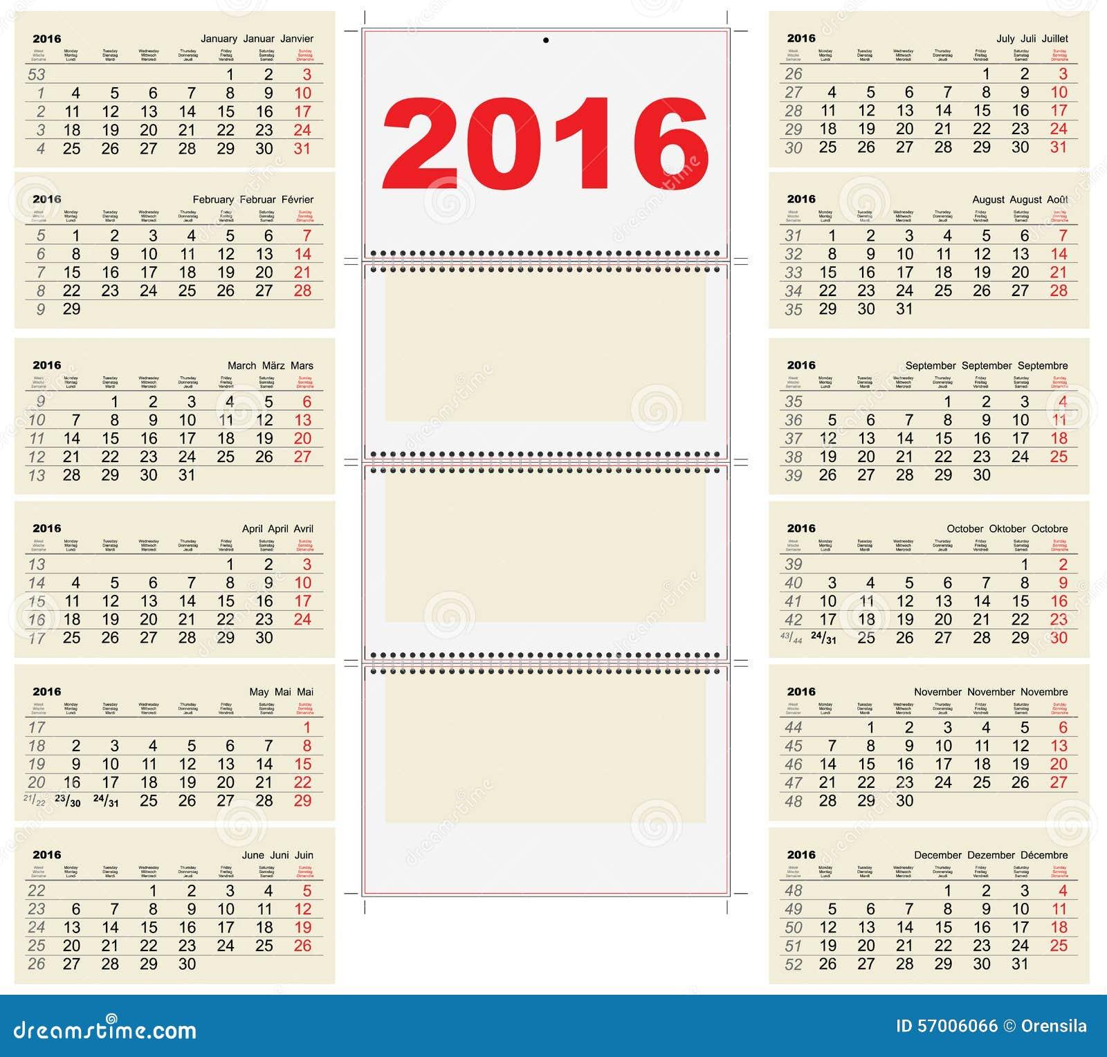 Calendar Illustration Template : Template wall quarterly calendar for stock vector
