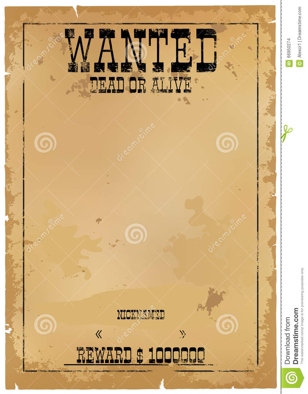 template is wanted dead or alive stock vector illustration of
