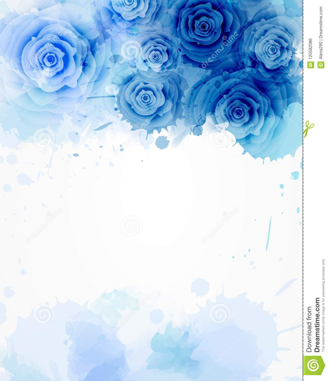 Template With Watercolor Abstract Roses Stock Vector