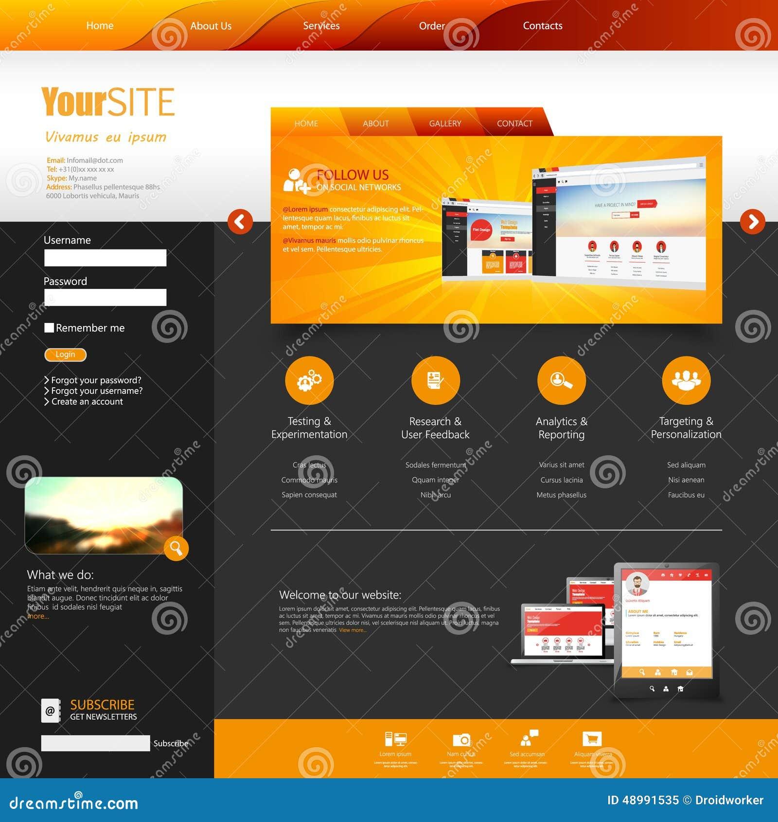 Template For Website Eps10 Vector Stock Vector Illustration Of