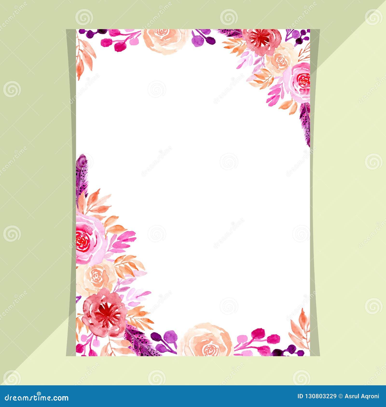 Template Wedding Invitation Card Watercolor Floral Stock Vector
