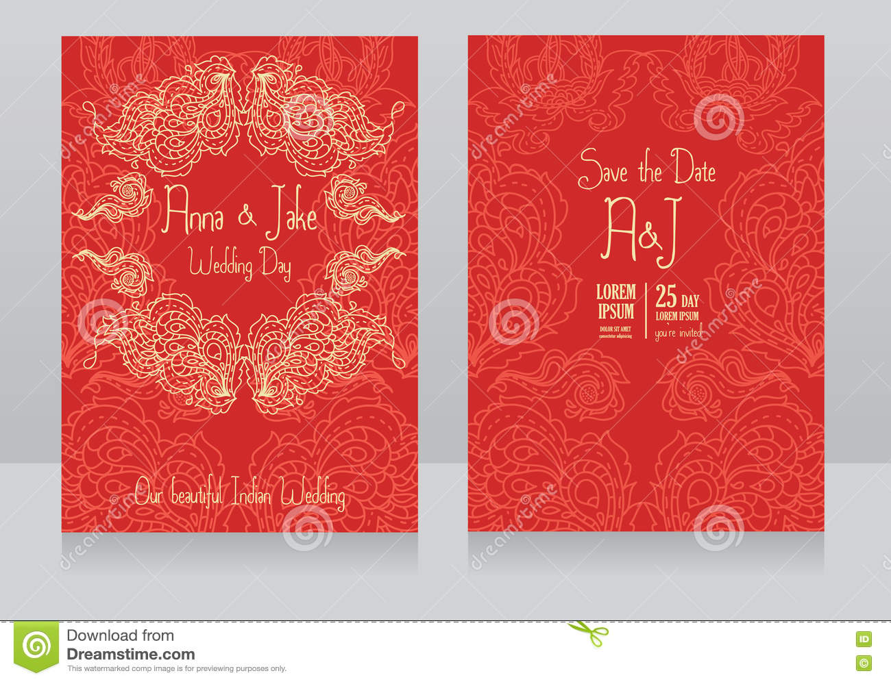Template For Wedding Invitation In Indian Style Stock Vector ...