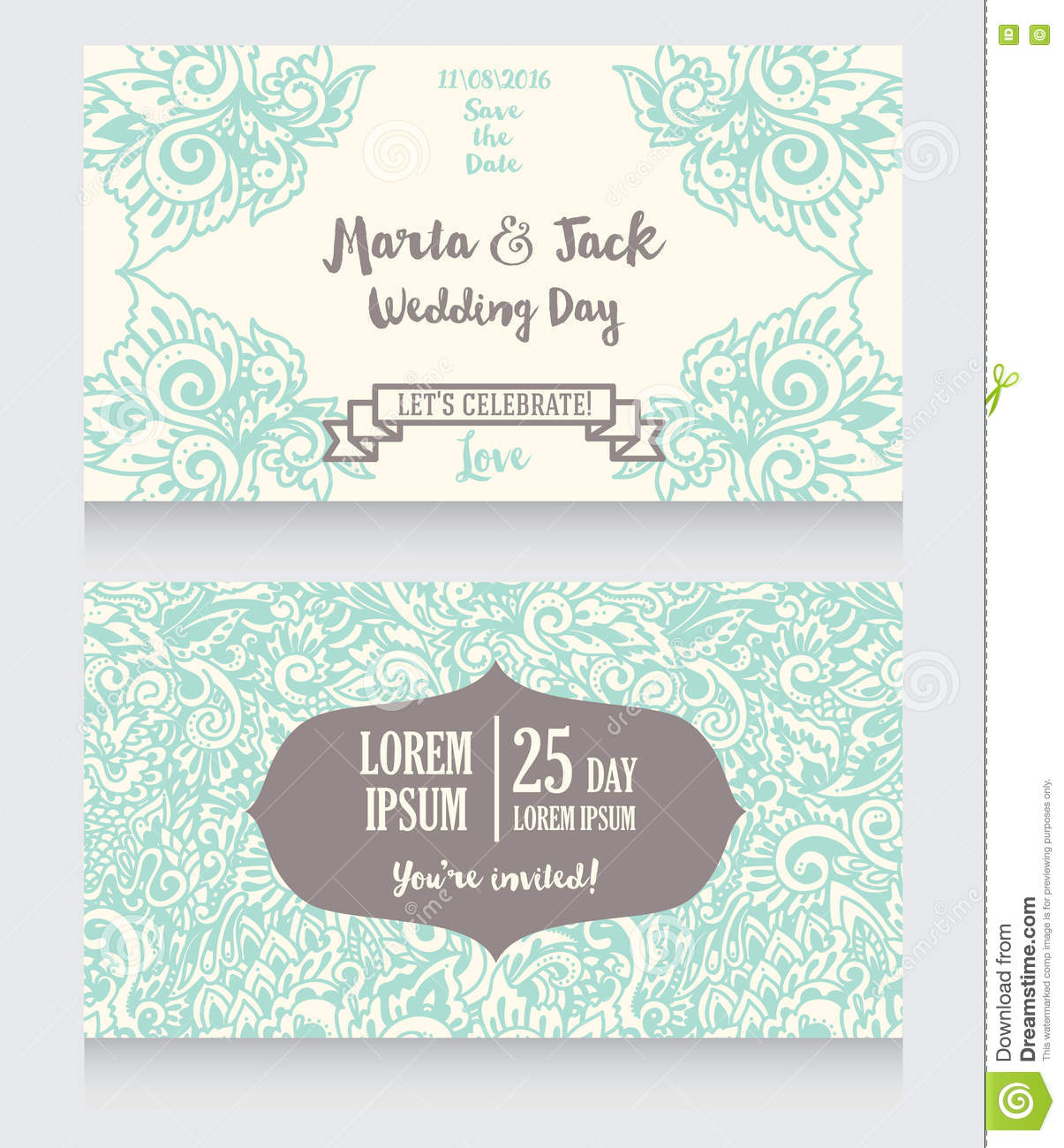 Template For Wedding Invitations In Boho Style Stock Vector ...