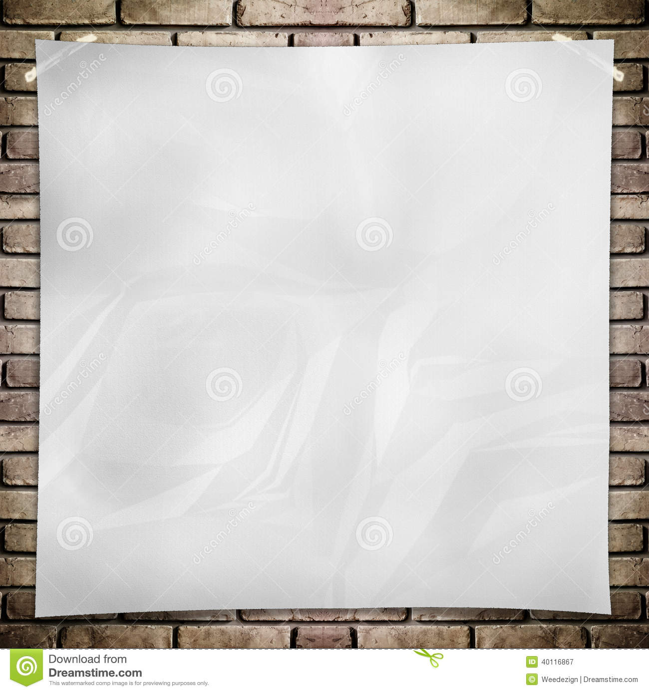 Template White Crumpled Square Poster Grunge Brick Wall Background