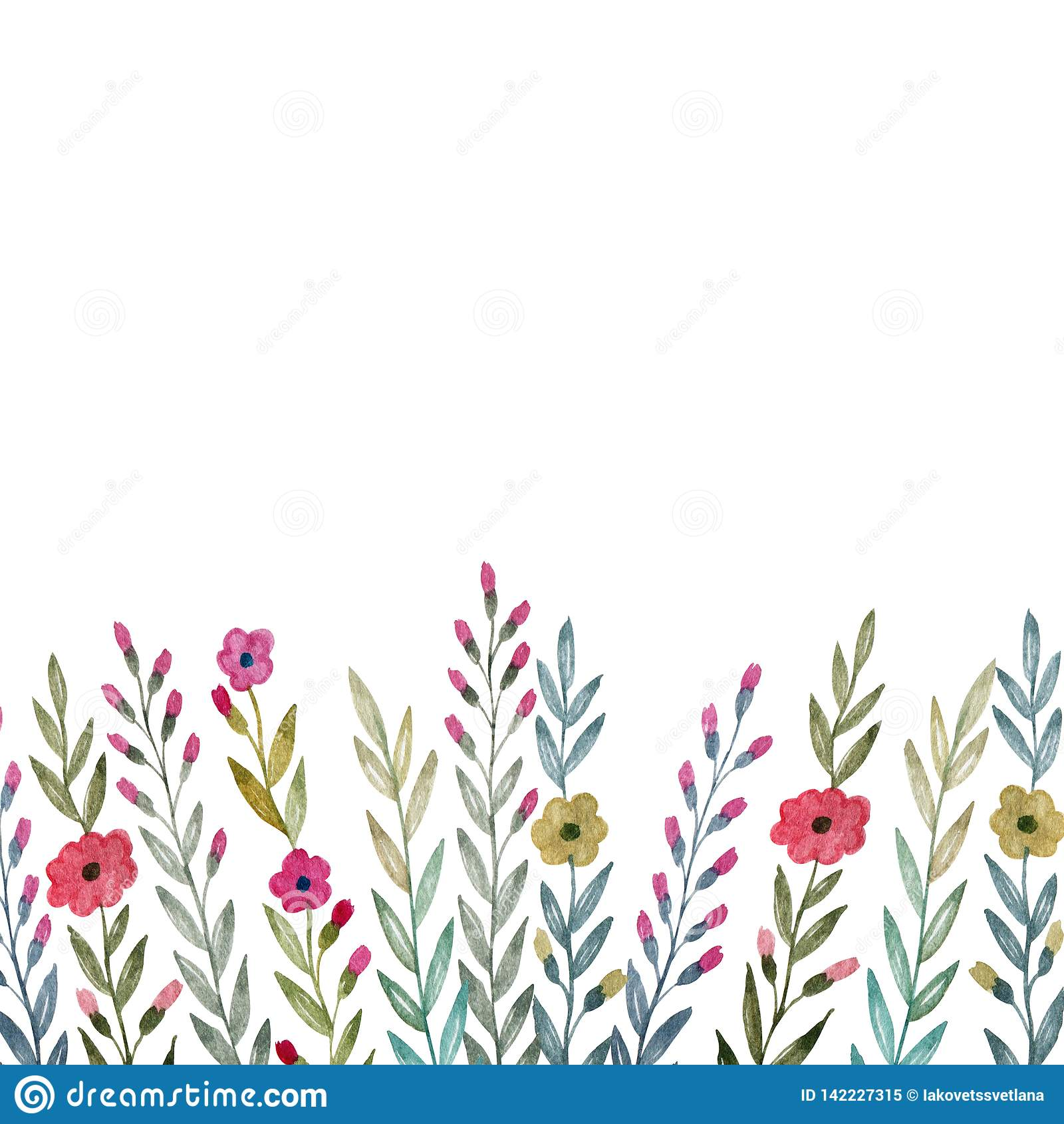 Background Of Flowers, Leaves And Plants. Watercolor Drawing