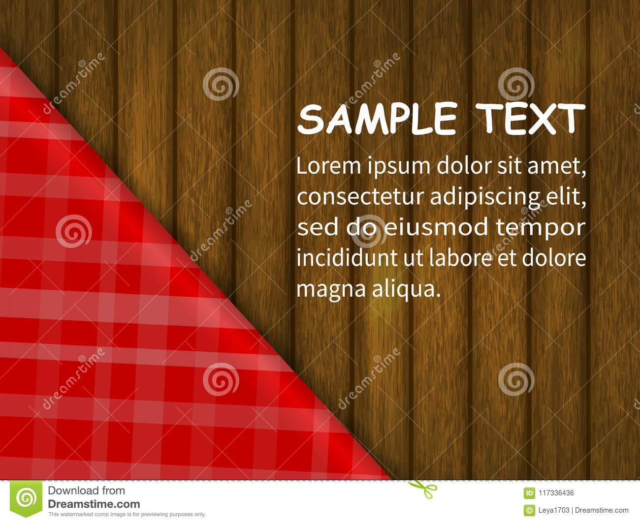 template for your design red checkered tablecloth on a wooden table