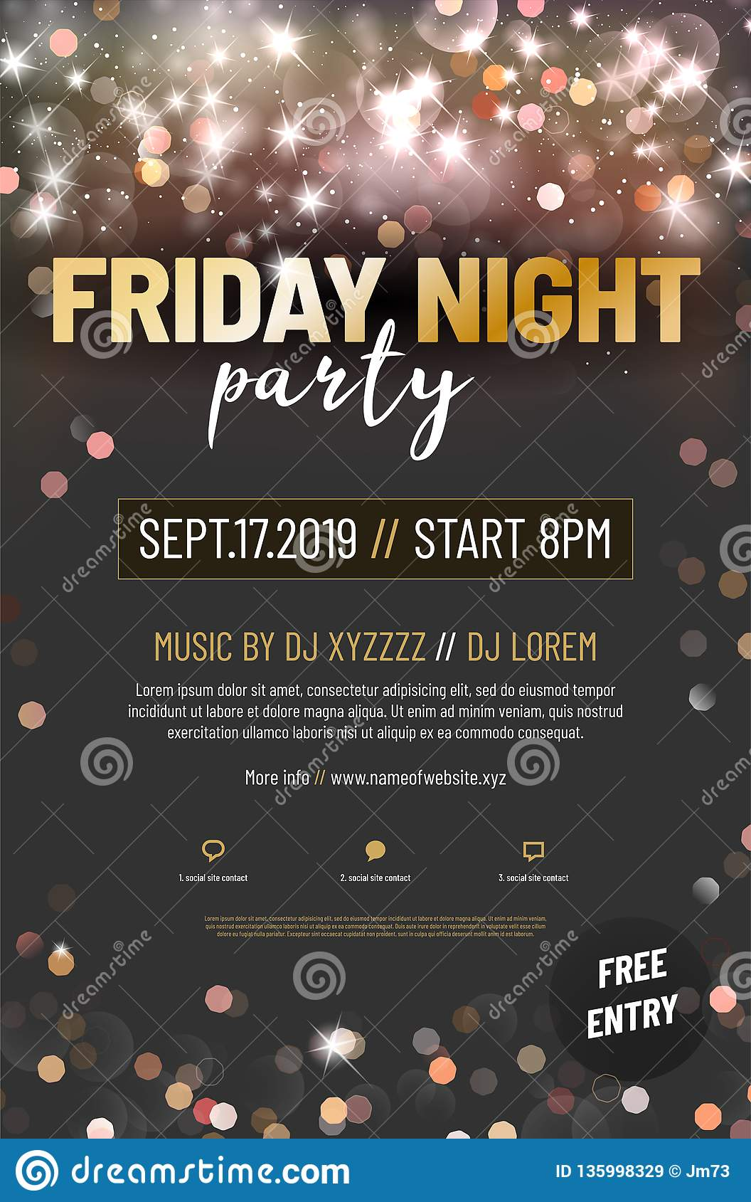 Template for your party poster with sample text