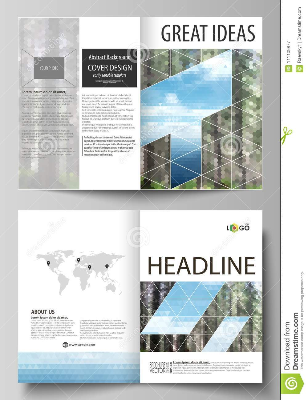 Templates For Bi Fold Brochure Flyer Booklet Or Report Cover Design Template