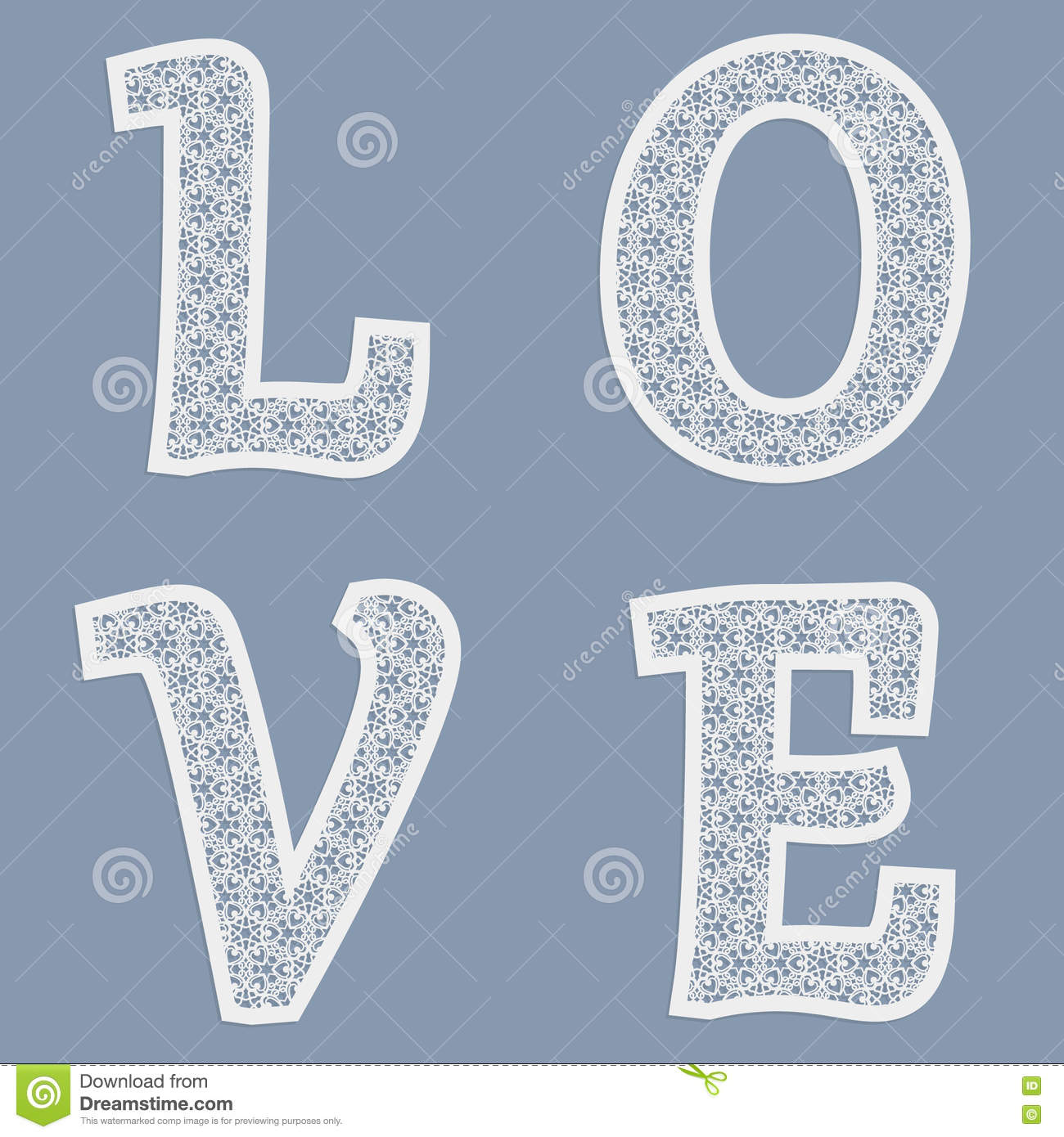 templates for cutting out letters of the word love may be used for
