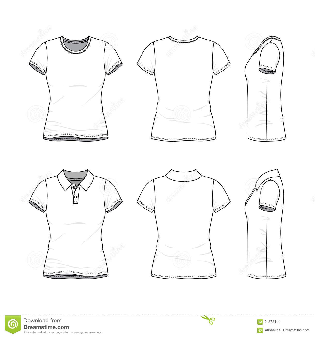 templates of female t shirt and polo shirt stock illustration