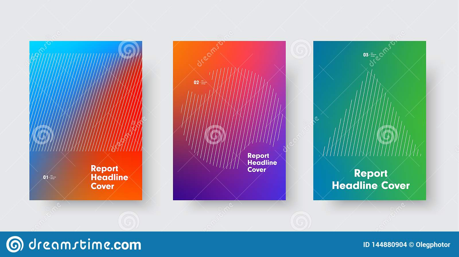 Templates for minimalistic vector cover with a gradient on the background and a circle, a triangle and a rectangle of diagonal