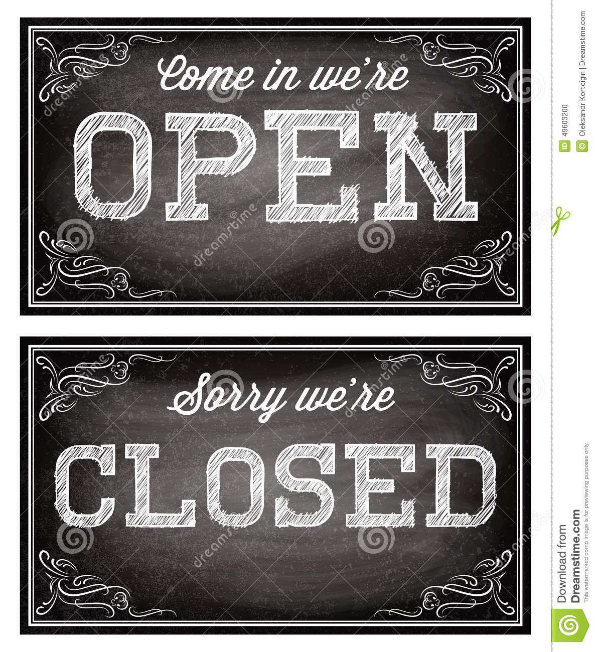 Templates for open and closed signboards retro style stock for Open closed sign template