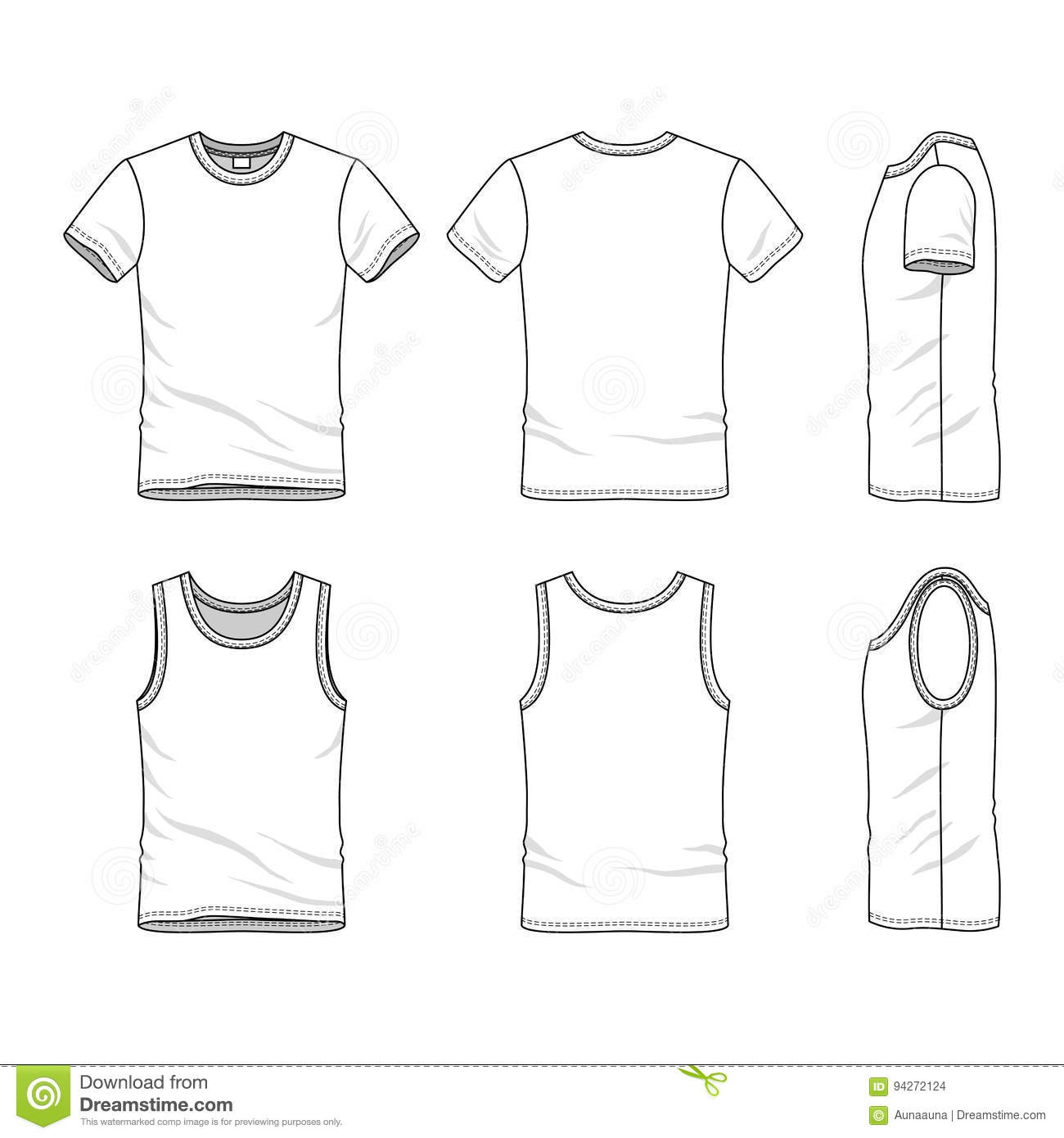 Templates Of T Shirt And Vest Stock Illustration Illustration Of