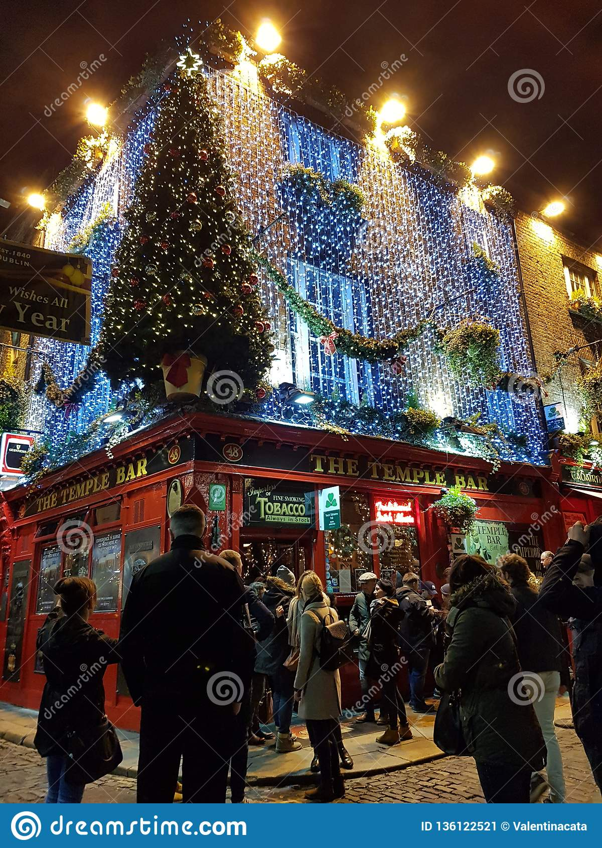 Christmas In Dublin Ireland.Temple Bar Around Christmas Holidays 2018 Editorial Photo
