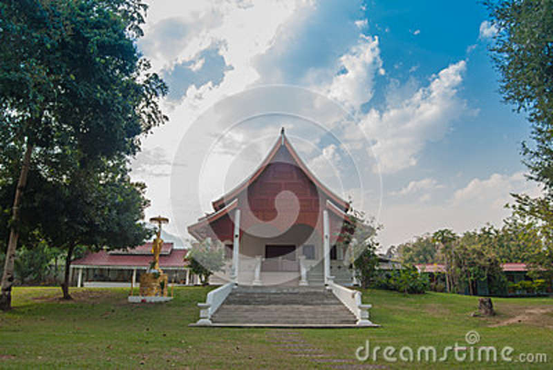 Temple and blue sky with white cloud