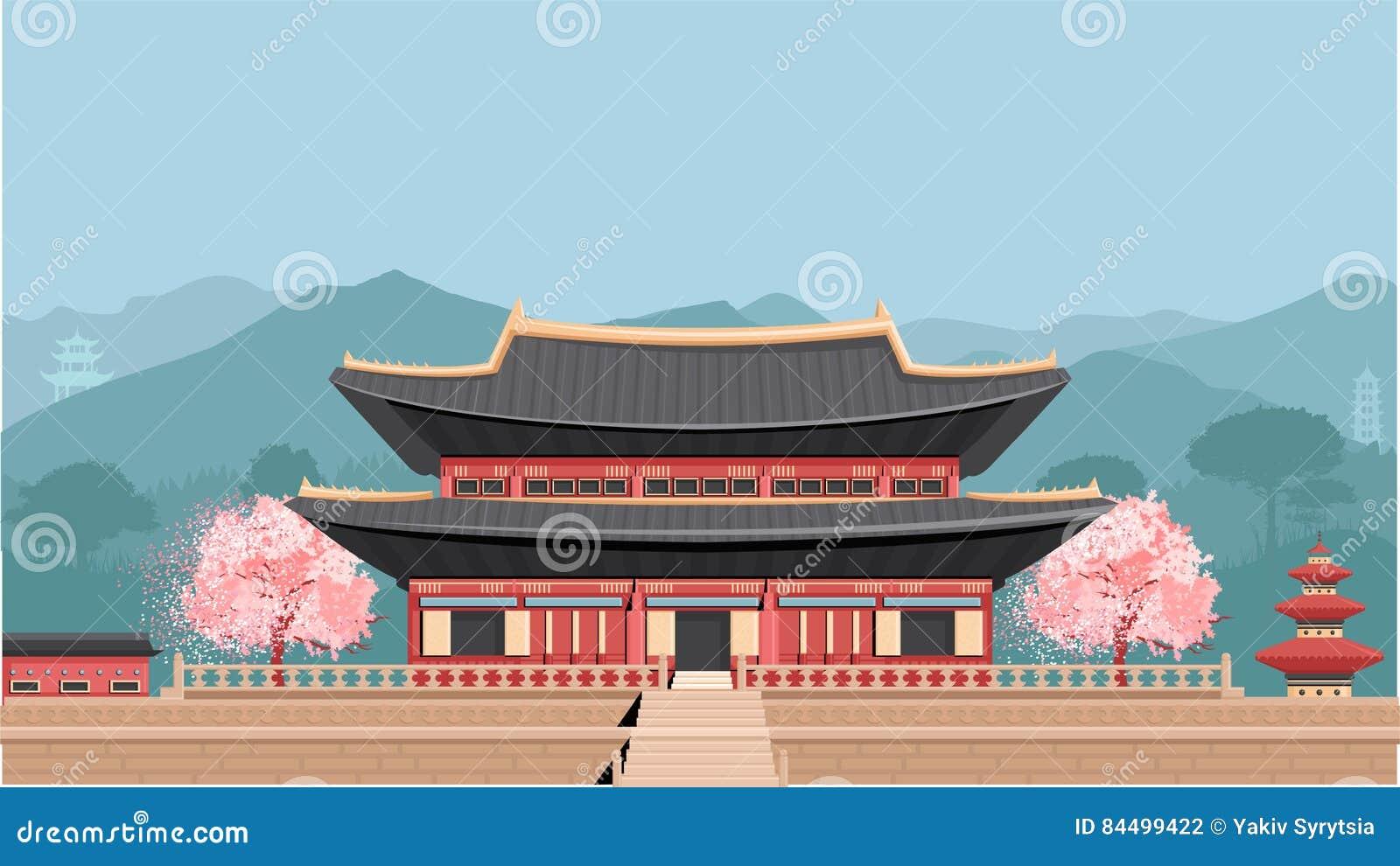 Temple coréen avec des montagnes