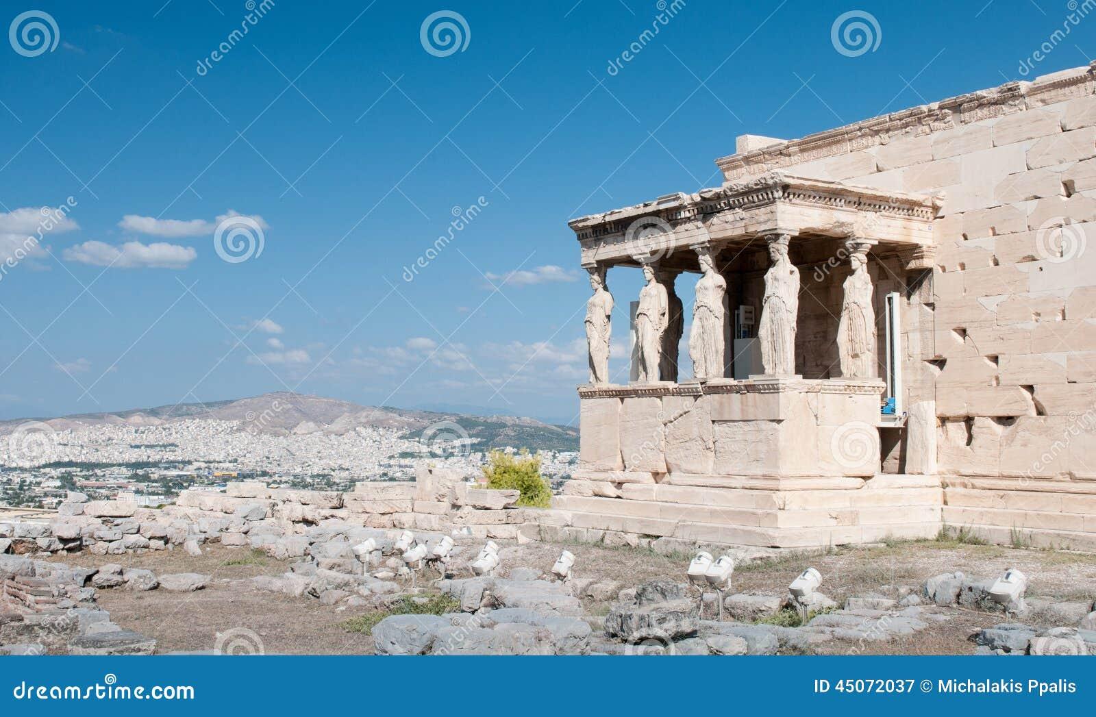 Temple d Erechtheion sur la colline d Acropole, Athènes Grèce